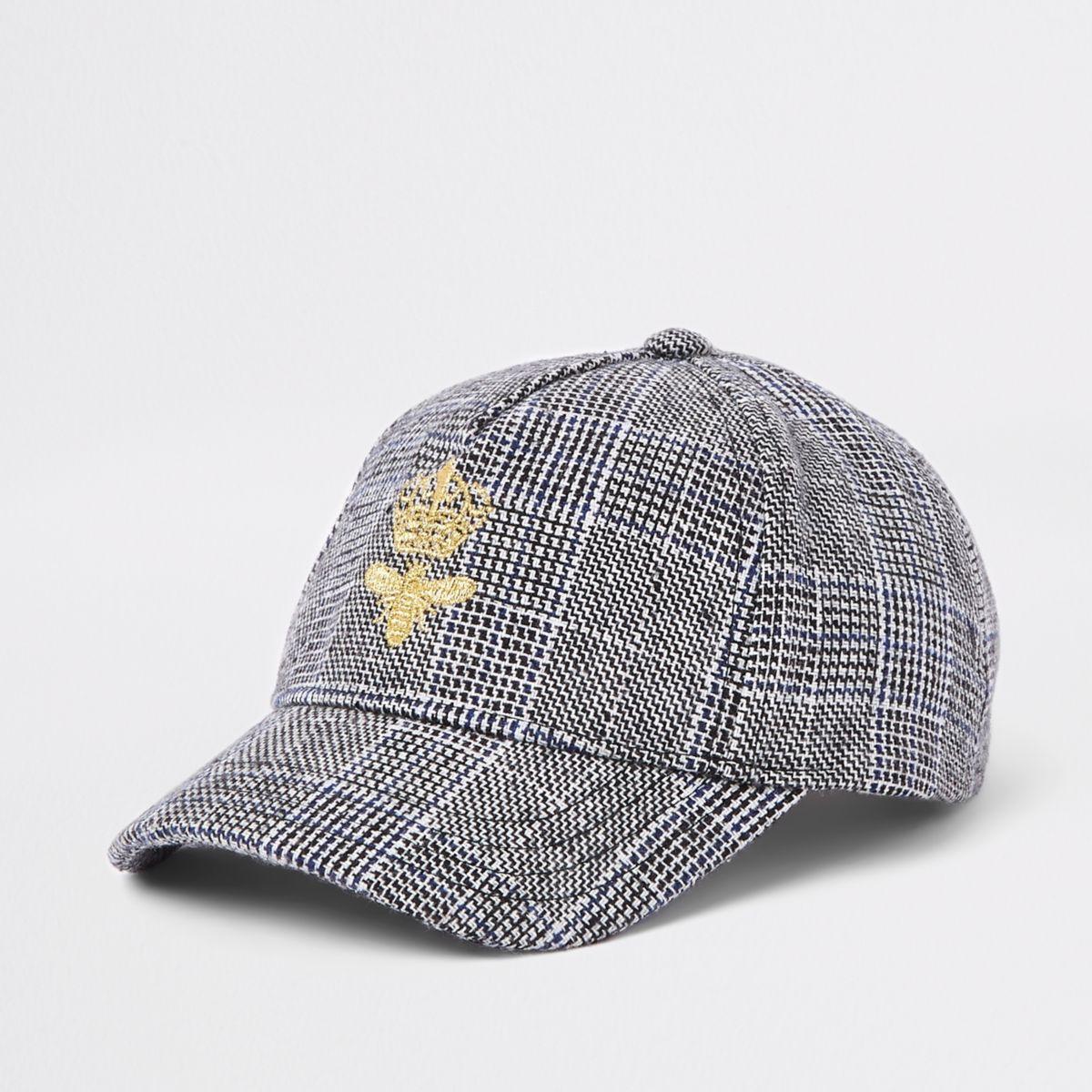 Kids grey check print bee baseball cap