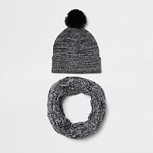 Ensemble écharpe-tube et bonnet en fausse fourrure gris pour garçon