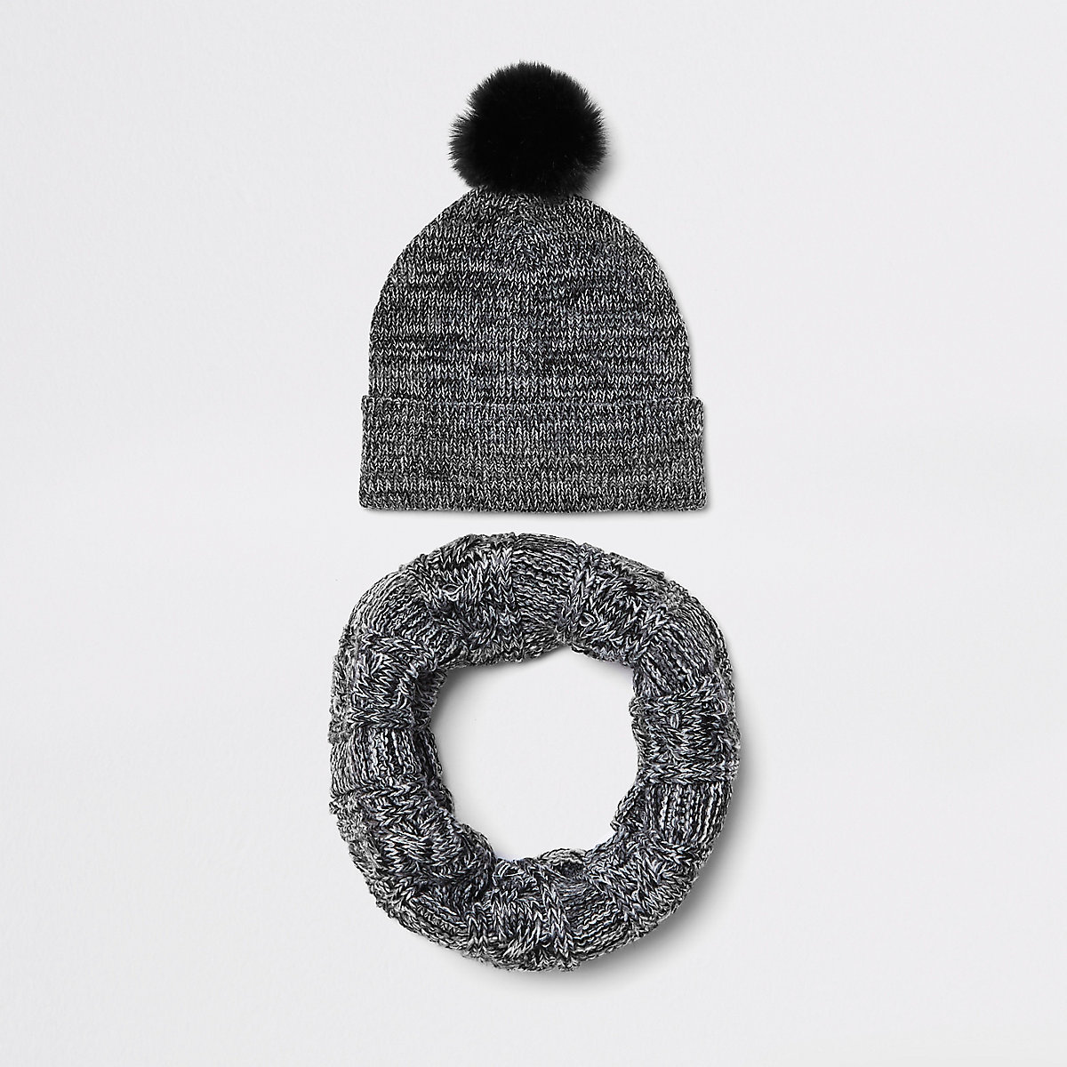 Boys grey faux fur beanie hat and snood set