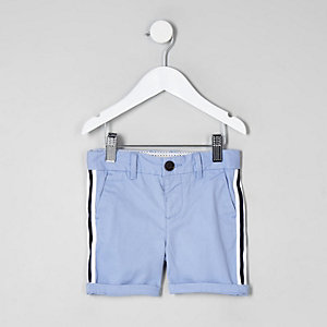 Mini boys blue tape chino shorts