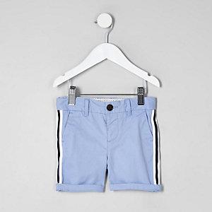 Short chino bleu à bandes mini garçon