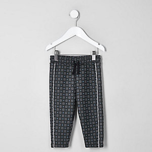 Mini boys navy tile print track joggers