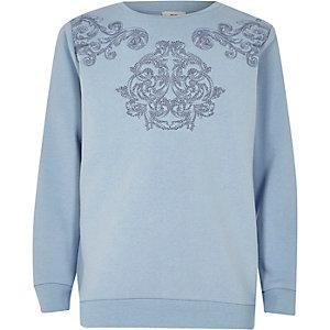 Blaues, besticktes Sweatshirt