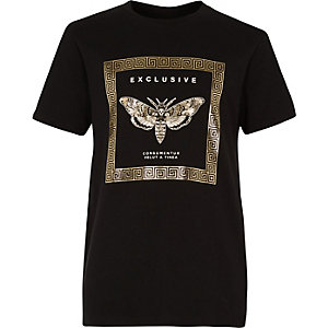 Boys black 'exclusive' foil print T-shirt