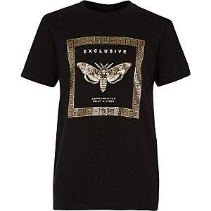 Boys black 'exclusive' foil print T-shirt