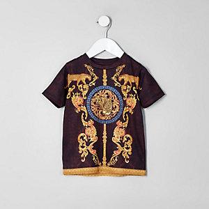 Mini boys purple print T-shirt