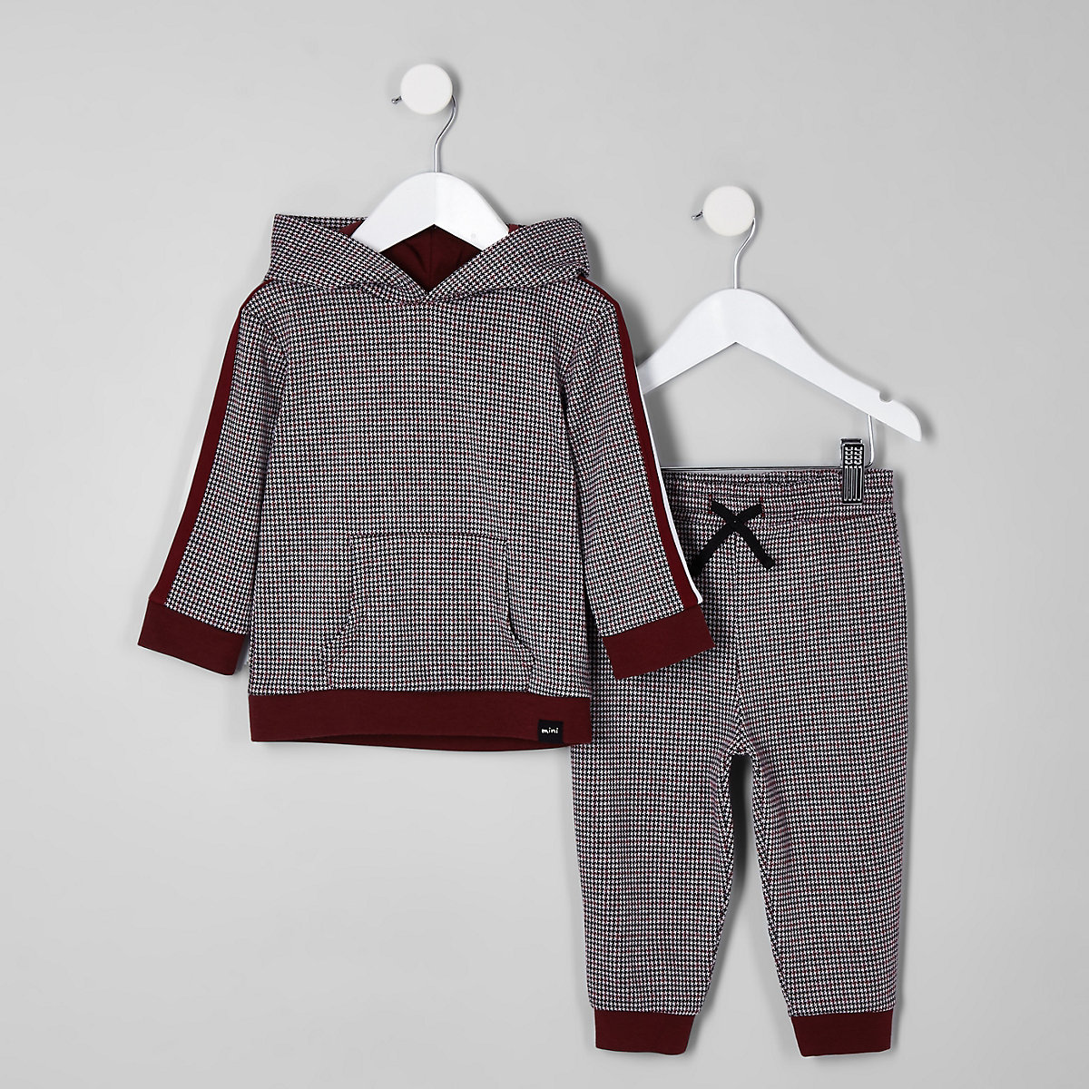 Mini boys red check print hoodie outfit