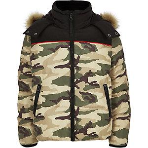 Boys khaki camo puffer jacket