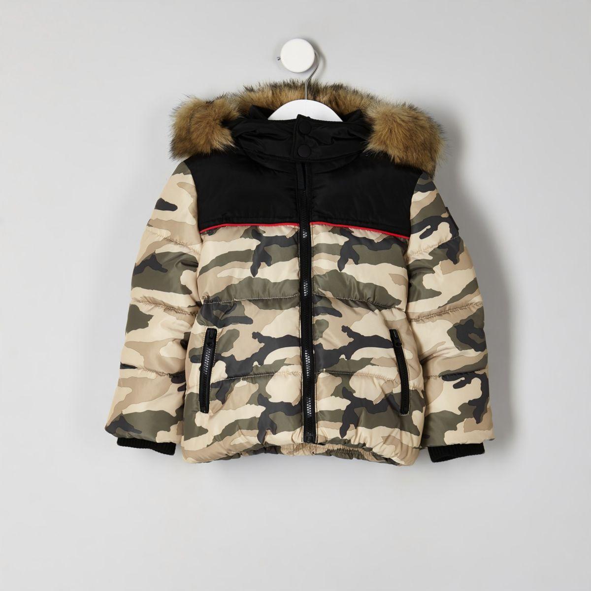 Mini boys khaki camo puffer jacket
