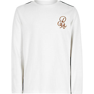 Boys white 'R96' tape long sleeve T-shirt