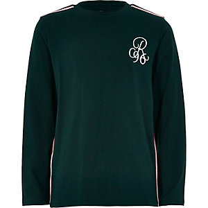Boys green tape long sleeve T-shirt