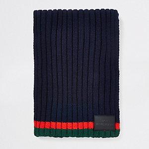 Écharpe en maille bleu marine à rayures contrastantes pour garçon