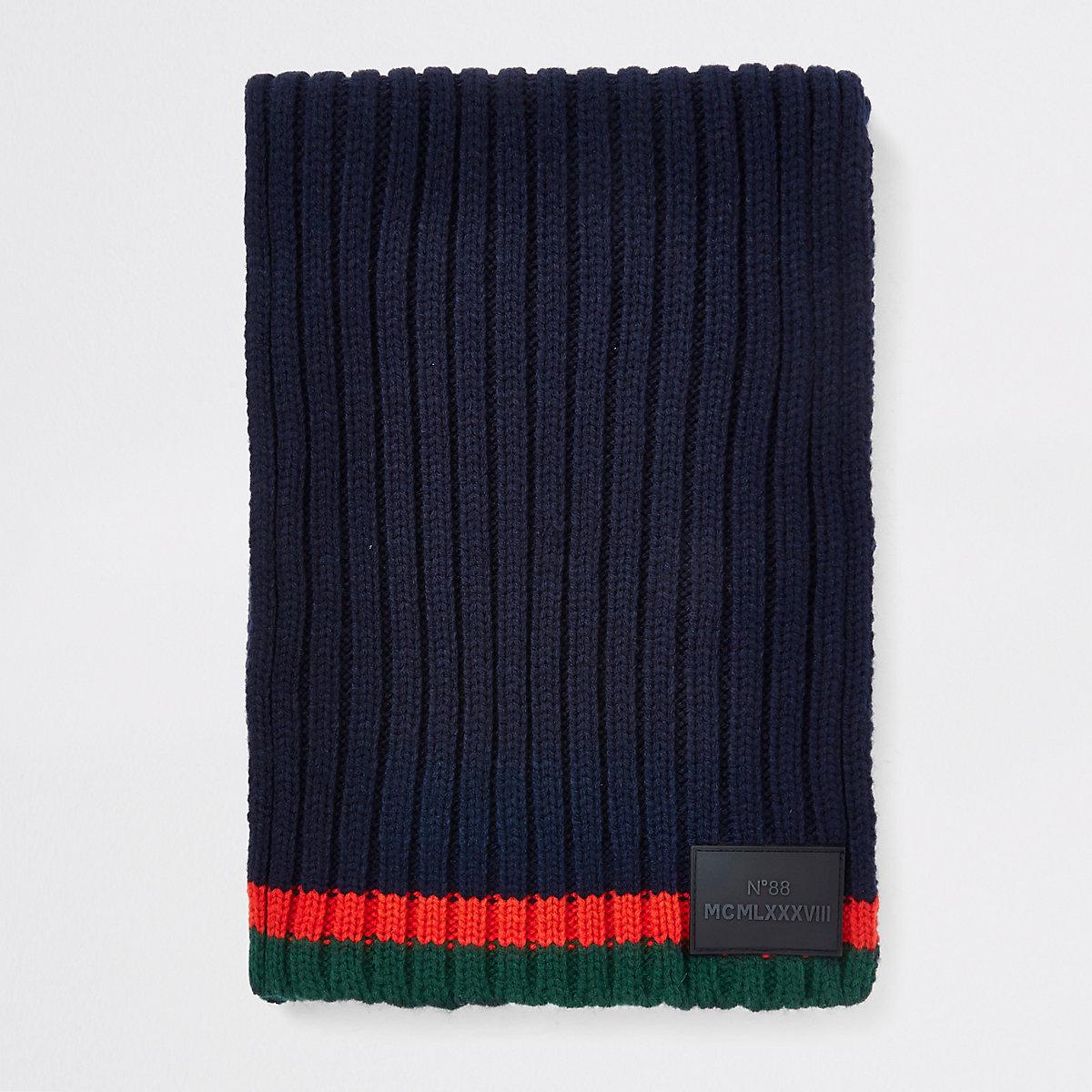 Boys navy contrast stripe knit scarf