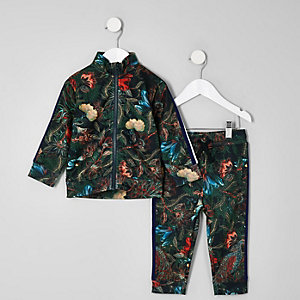 Mini boys navy peacock print track set