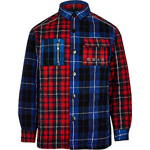 Boys RI Studio blue check shacket