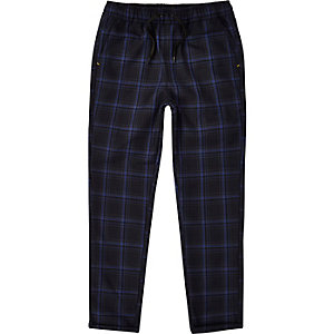 Boys RI Studio navy check pants