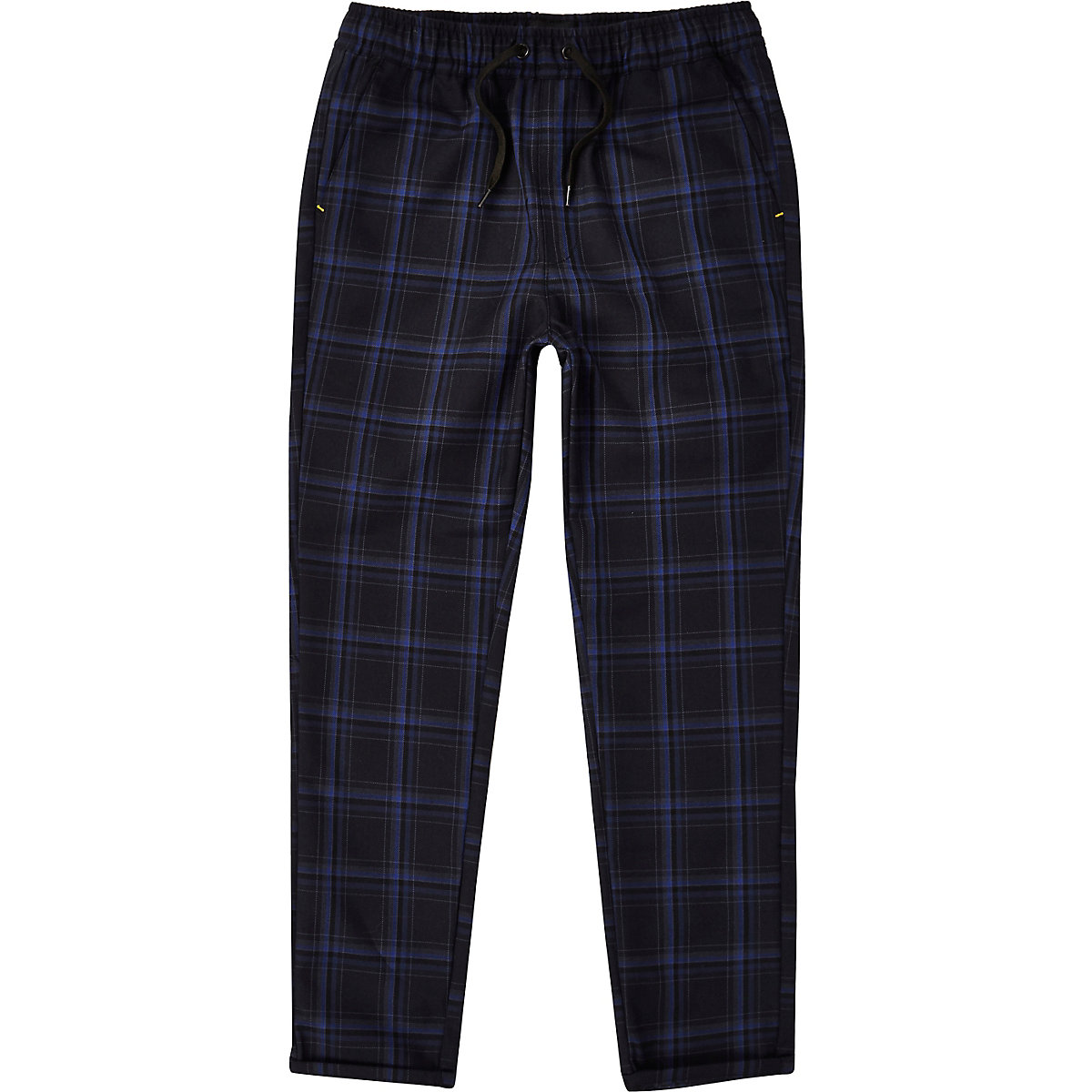 Boys RI Studio navy check trousers
