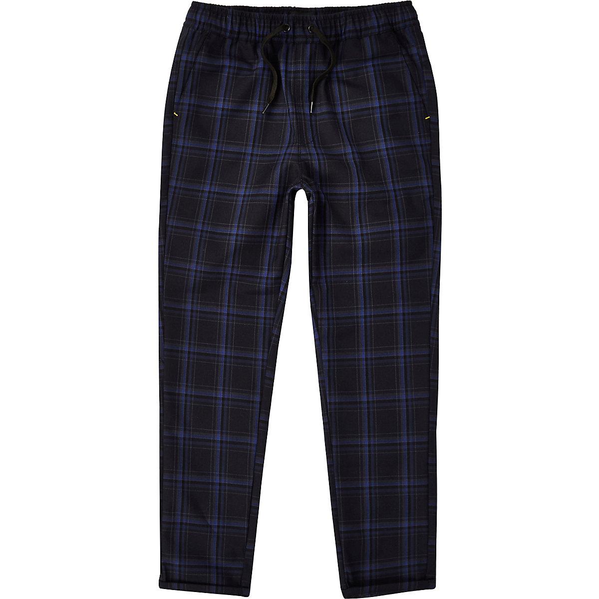 Boys RI Studio navy check pants