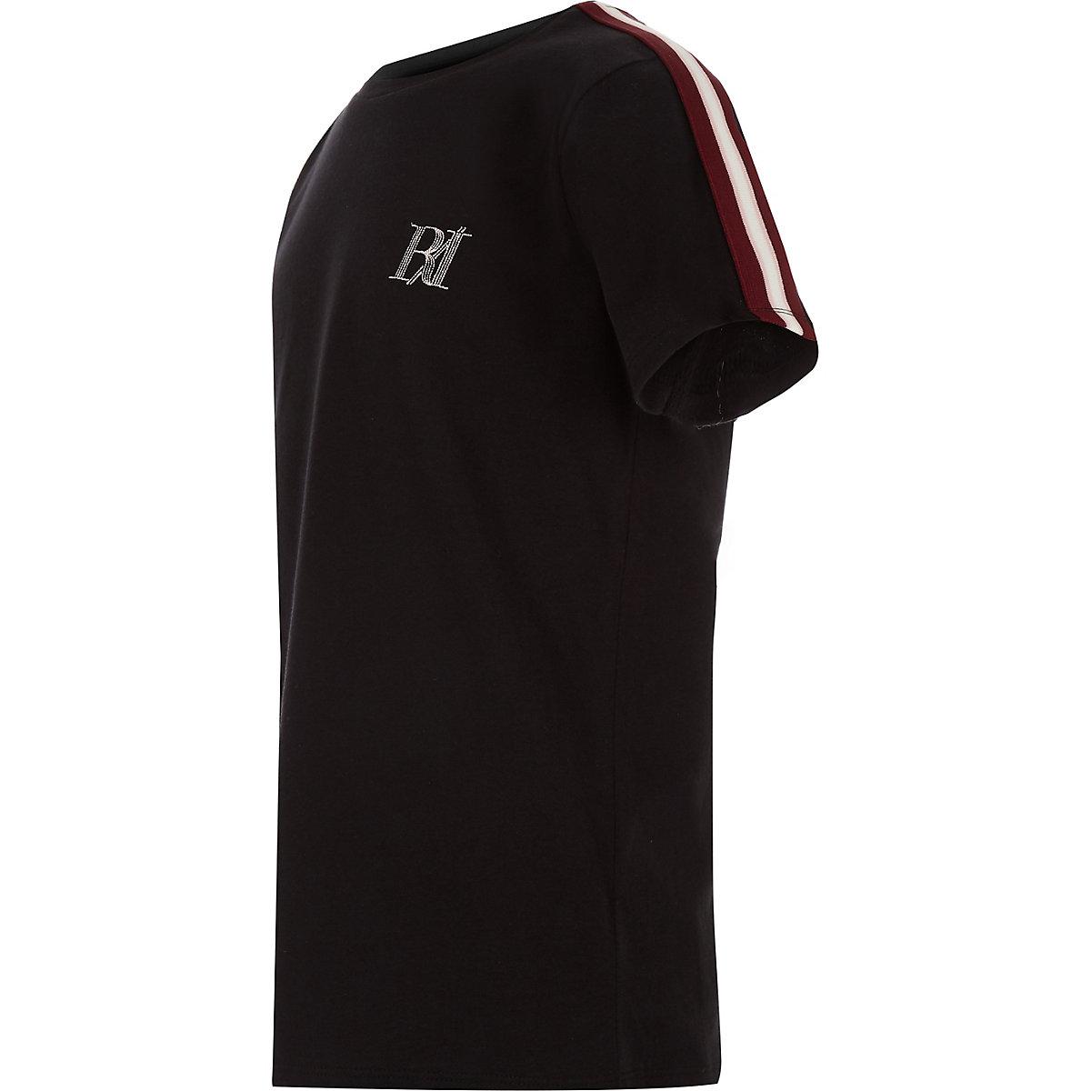Boys black tape sleeve T-shirt