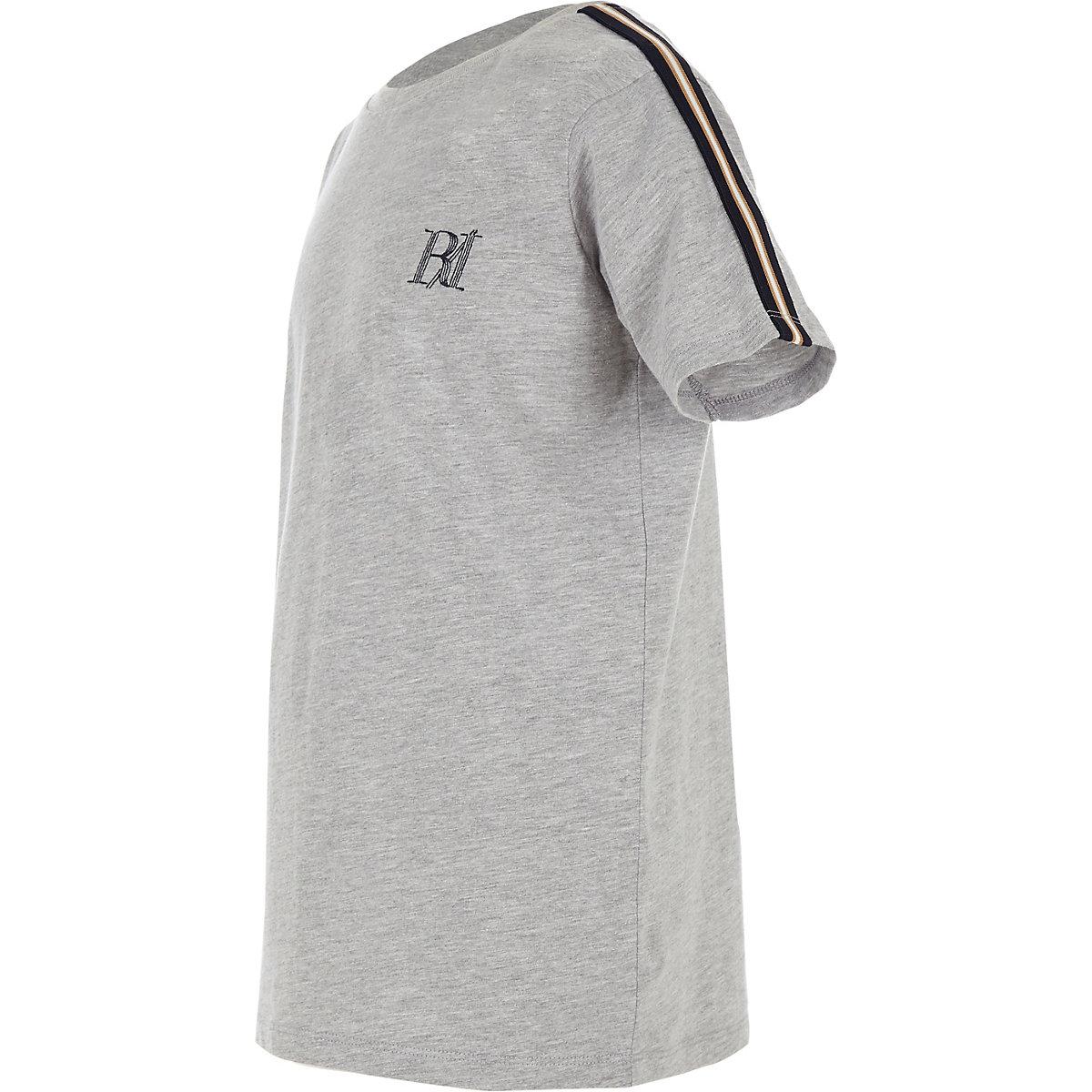 T-shirt gris avec manches à bandes pour garçon