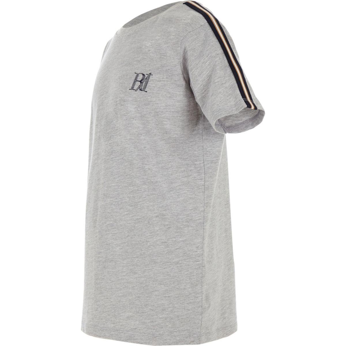 Boys grey tape sleeve T-shirt