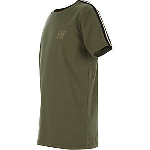 Boys khaki green tape sleeve T-shirt