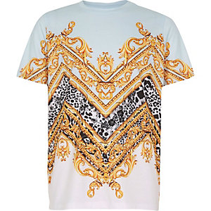 Kids blue baroque print T-shirt