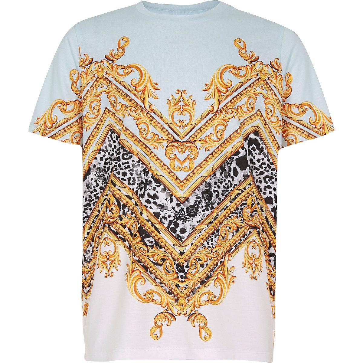 Boys blue baroque print T-shirt
