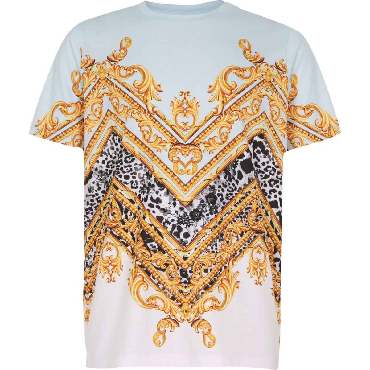 Boys blue baroque print T-shirt