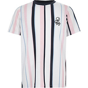 Boys navy vertical stripe T-shirt