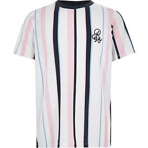 T-shirt à rayures verticales bleu marine pour garçon