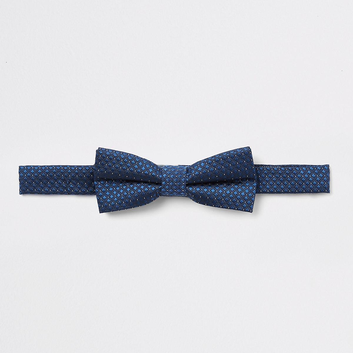 Boys navy jacquard bow tie