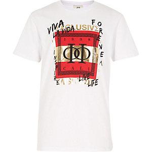 Wit T-shirt met 'viva la vida'-print voor jongens