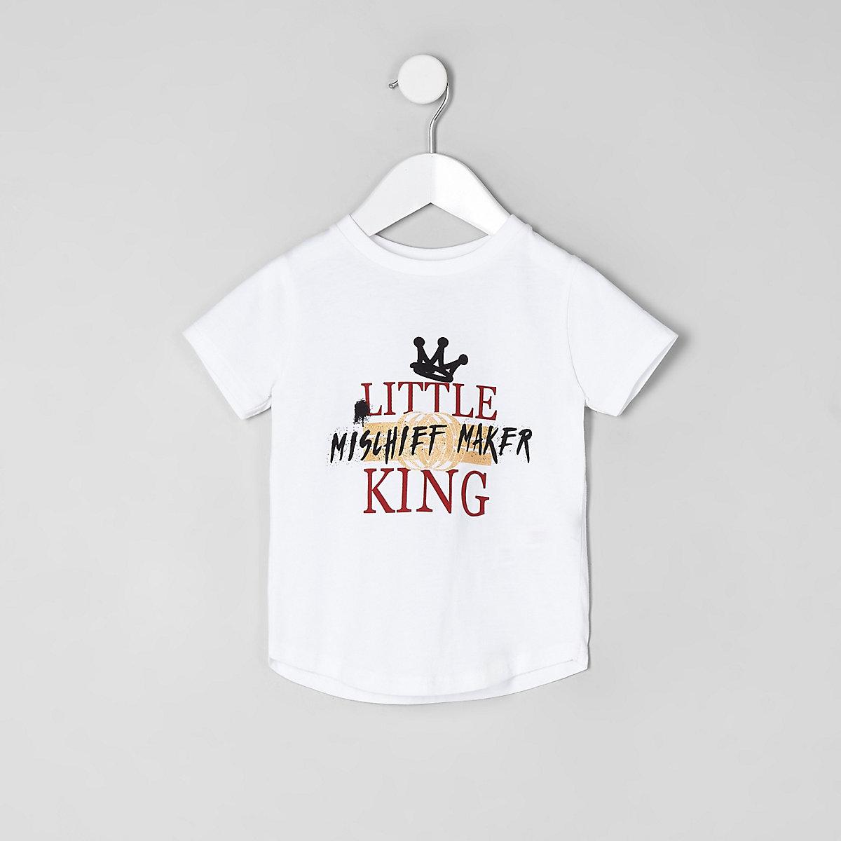 Mini boys white 'little king' print T-shirt