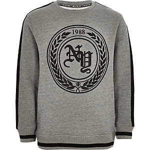 Boys grey print tape side sweatshirt