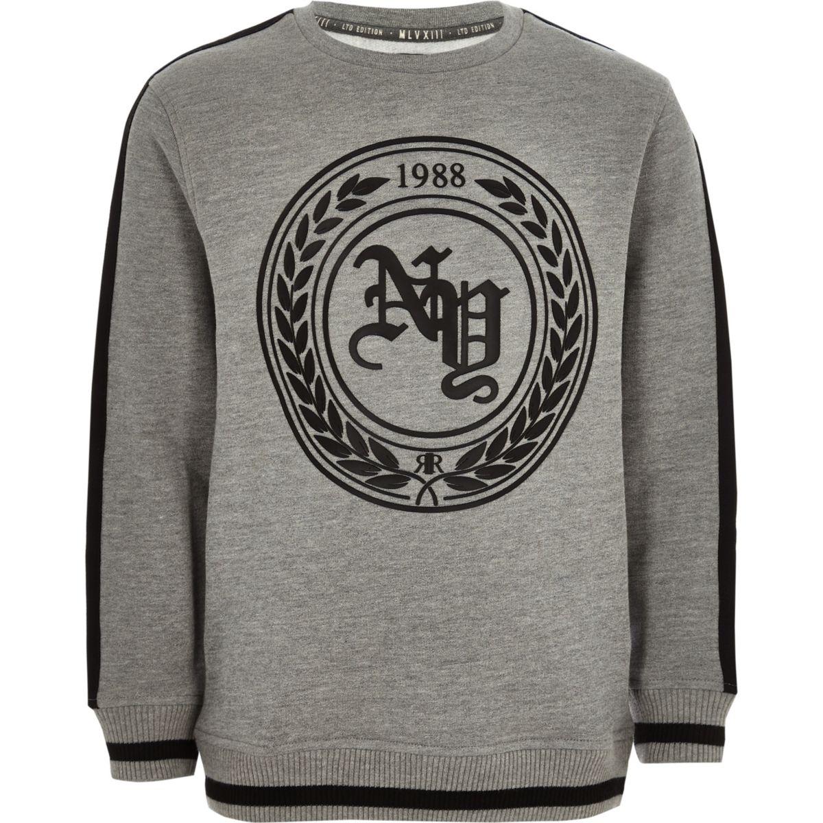 Boys grey print tape side sweatshirt
