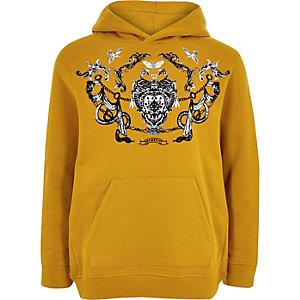 Gele hoodie met print voor jongens