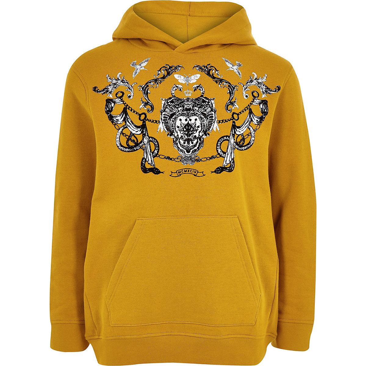 Boys yellow flock print hoodie