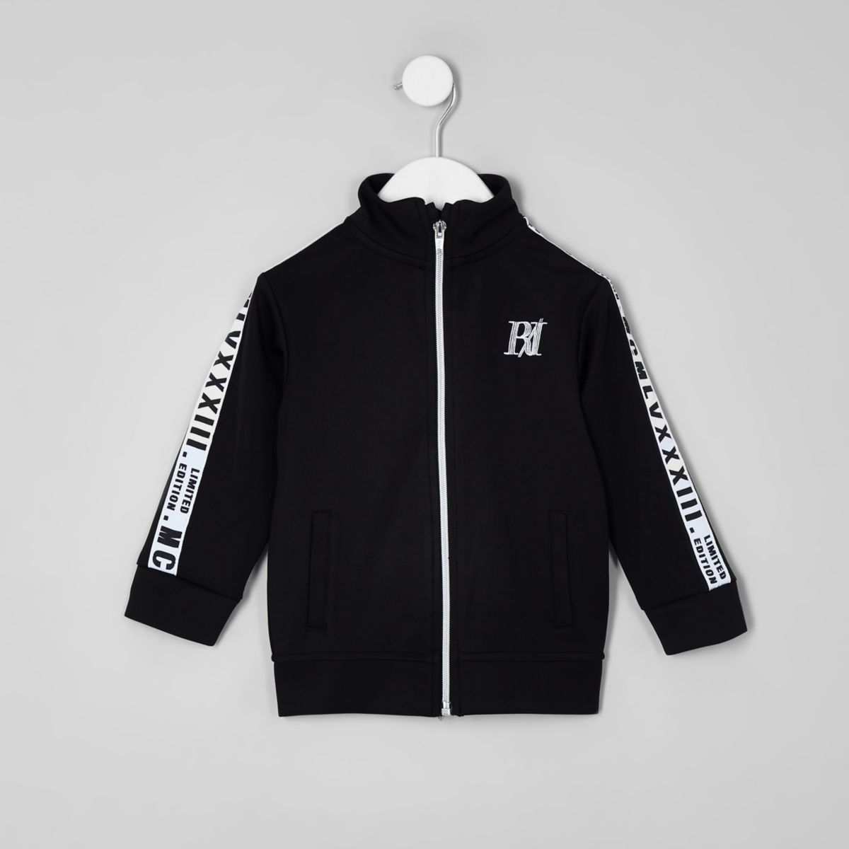 Mini boys black tape track jacket