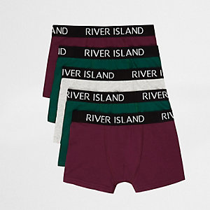 Boys burgundy and green RI boxers multipack