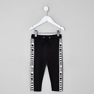 Mini boys black tape side joggers