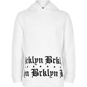Witte geborduurde hoodie met 'Brklyn'-print voor jongens