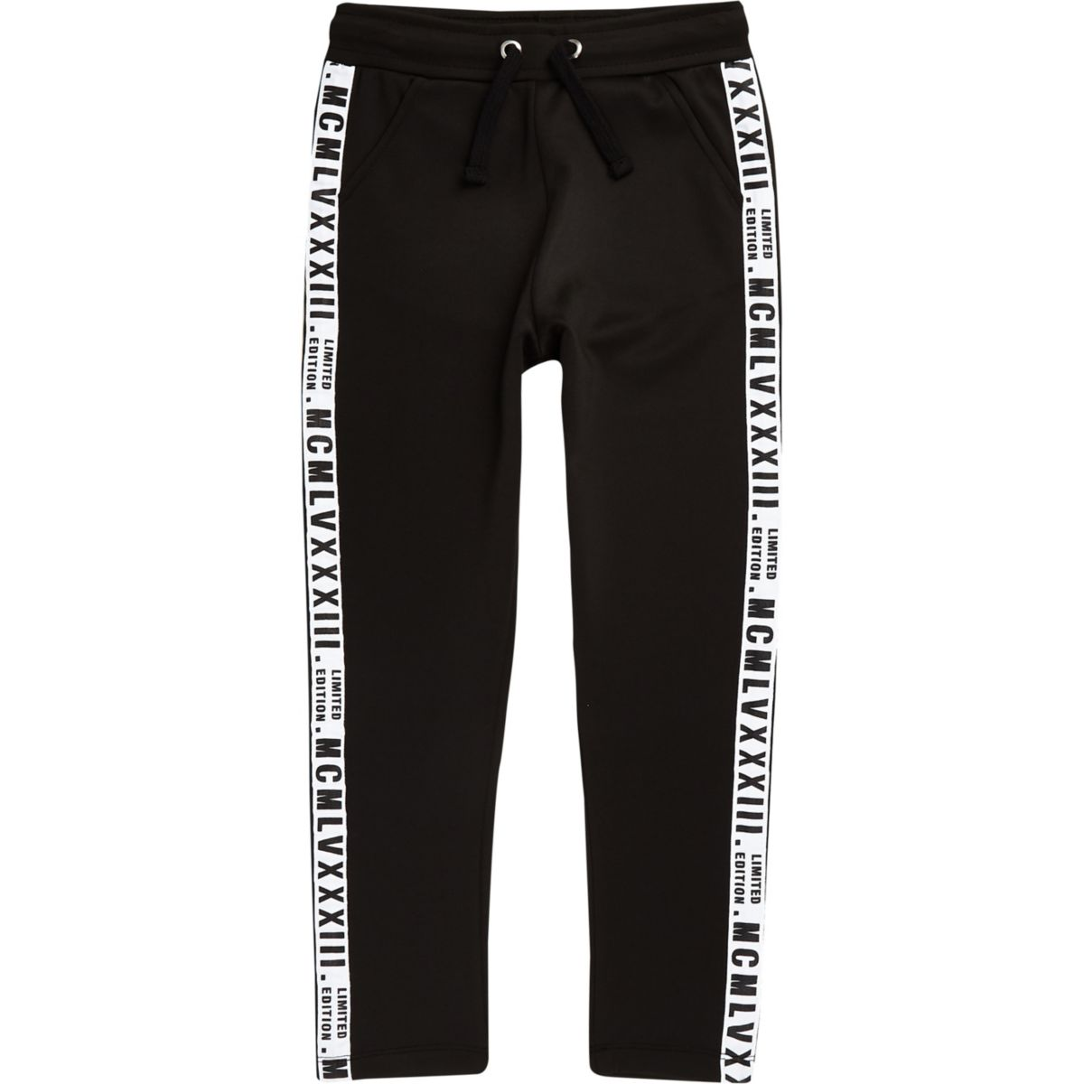Boys black 'limited edition' tape joggers