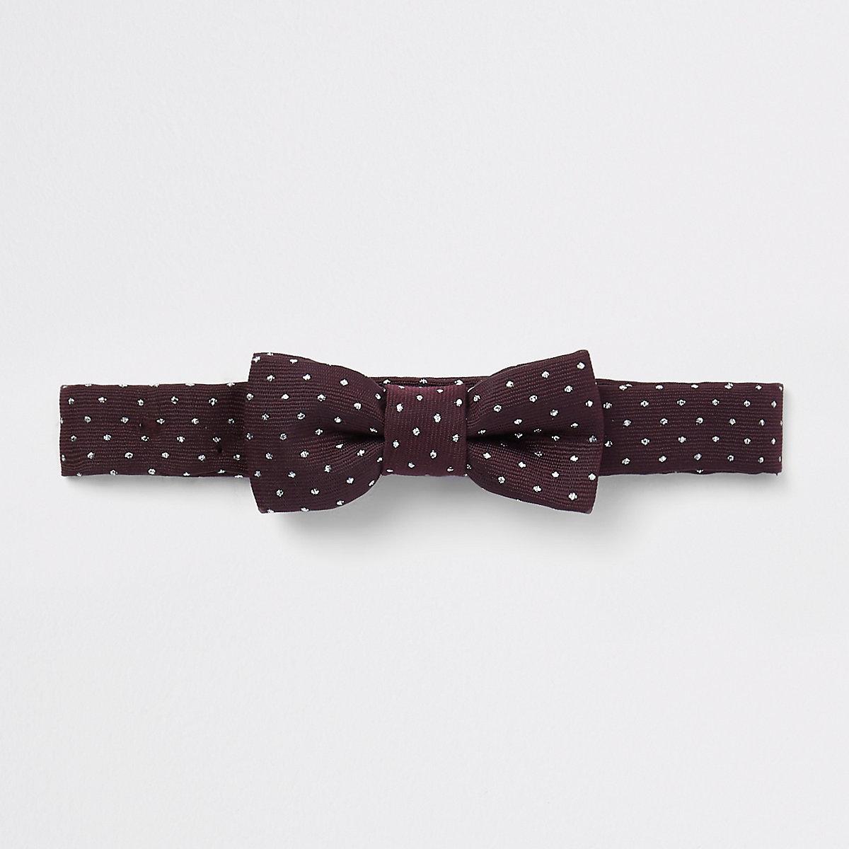 Mini boys burgundy jacquard spot bow tie