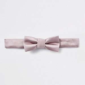 Mini boys light brown satin bow tie