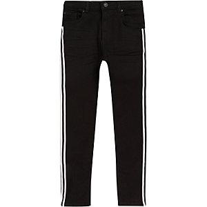 Sid - Zwarte skinny jeans met bies opzij voor jongens