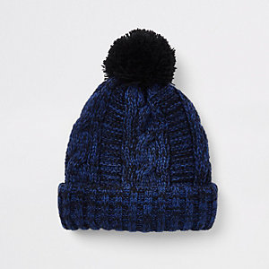 Mini boys blue twist knit beanie hat