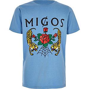 Blauw T-shirt met 'migos'- en rozenprint voor jongens