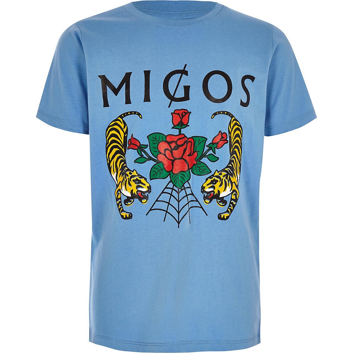 Boys 'migos' blue rose print T-shirt