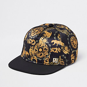 Boys black baroque print flat peak cap